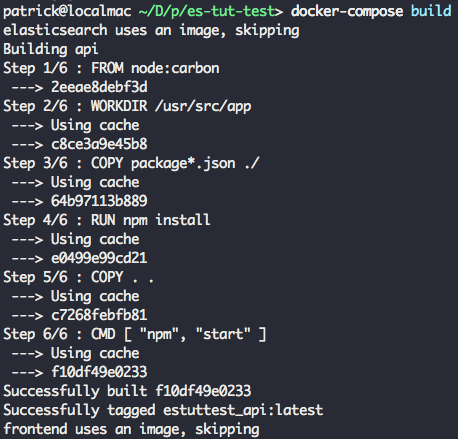 docker build output