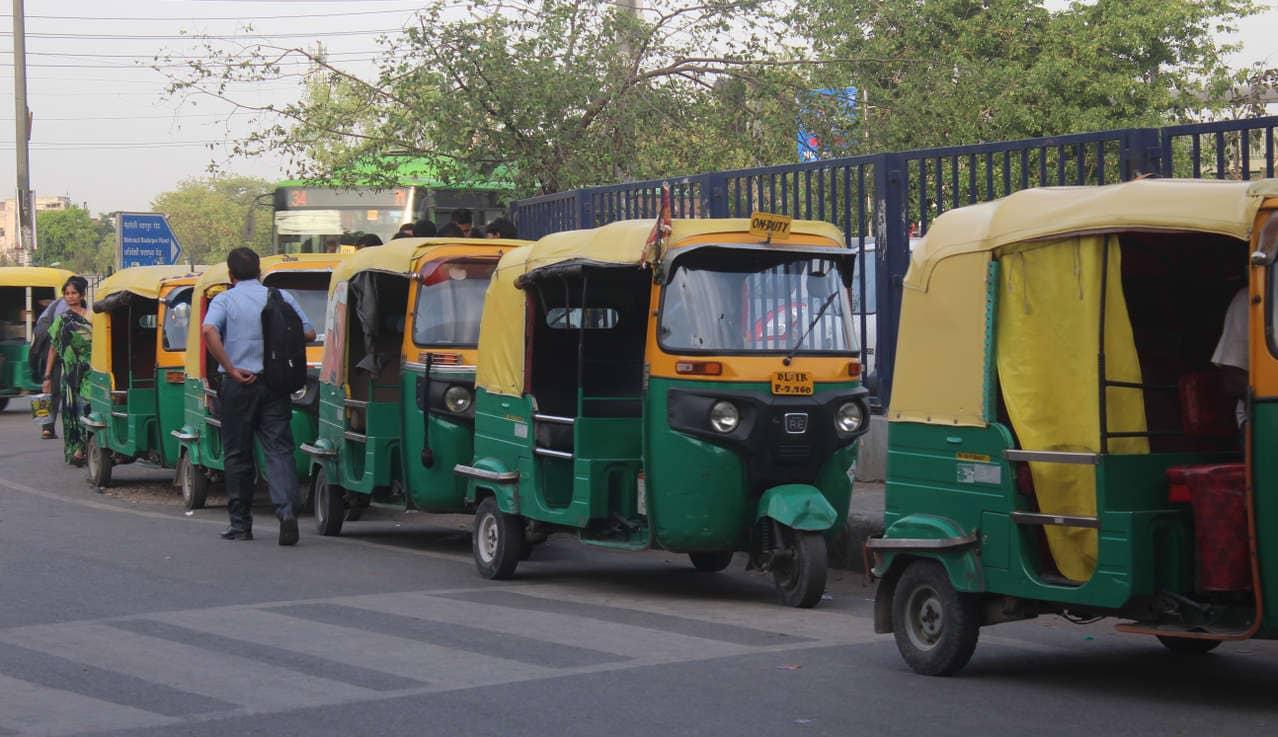 Autorickshaws at the Saket Metro station.
